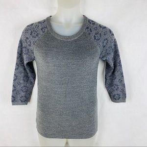 LOFT Gray Animal Print Sleeve Metallic Sweater